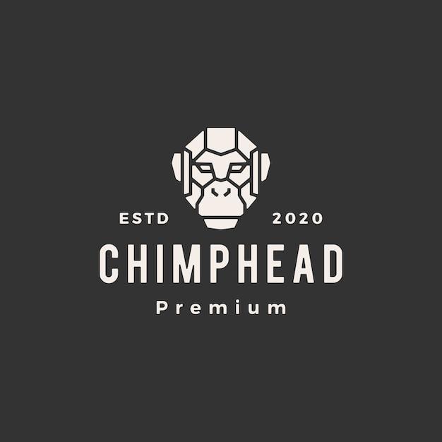 Chimp hoofd vintage logo pictogram illustratie Premium Vector