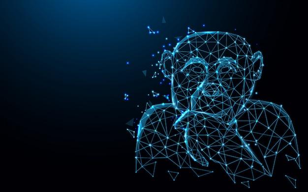 Chimpansee posten denkwerkende vormlijnen, driehoeken en deeltjesstijlontwerp Premium Vector