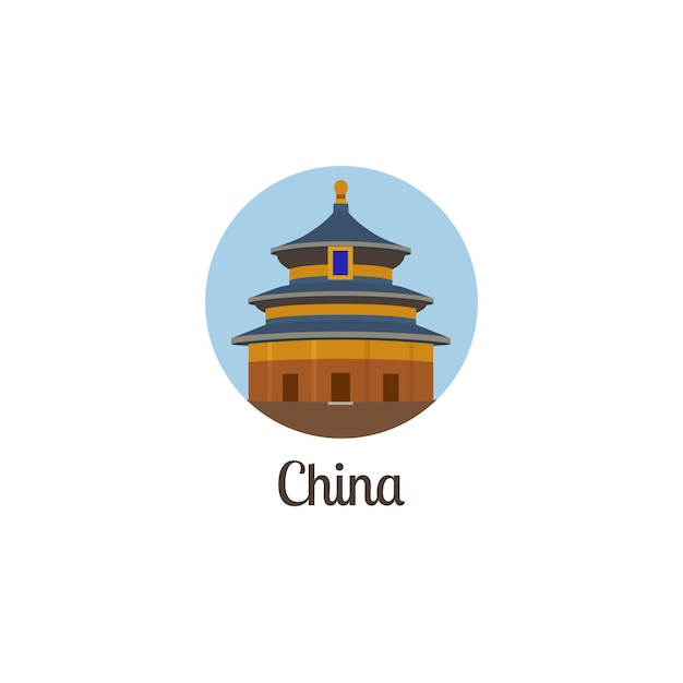China landmark geïsoleerd om pictogram Premium Vector