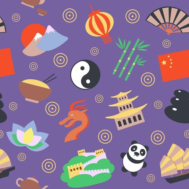 China naadloos patroon Gratis Vector