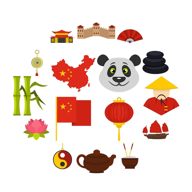 China reizen symbolen pictogrammen instellen in vlakke stijl Premium Vector