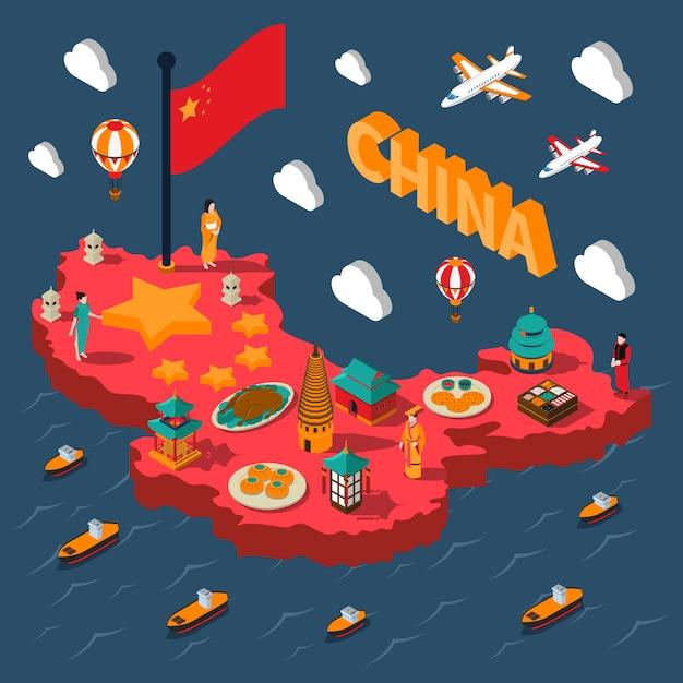 China toeristische isometrische kaart Gratis Vector