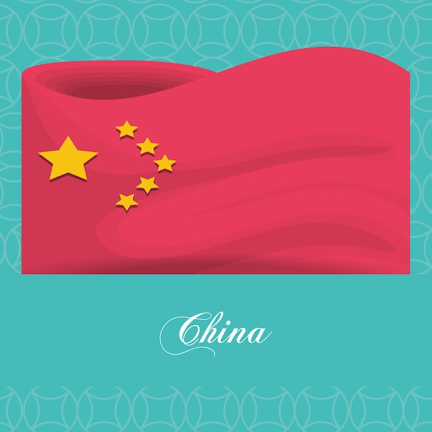 China vlag cultureel icoon Premium Vector