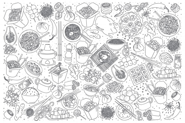 Chinees eten doodle set Premium Vector