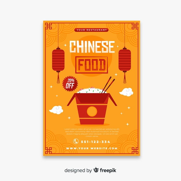 Chinees eten flyer sjabloon Gratis Vector