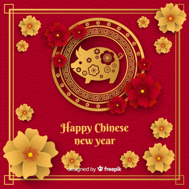 Chinees nieuw jaar 2019 achtergrond Gratis Vector
