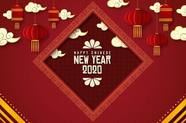 Chinees nieuw jaarconcept in document stijl Gratis Vector