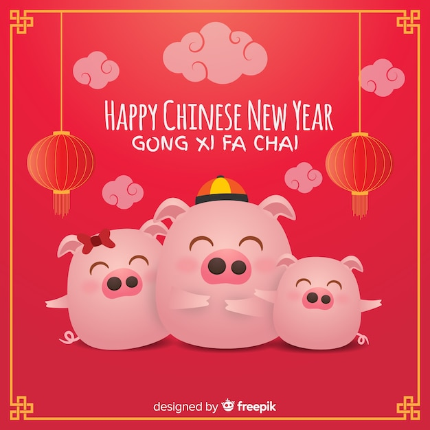 Chinees nieuwere 2019 achtergrond Gratis Vector