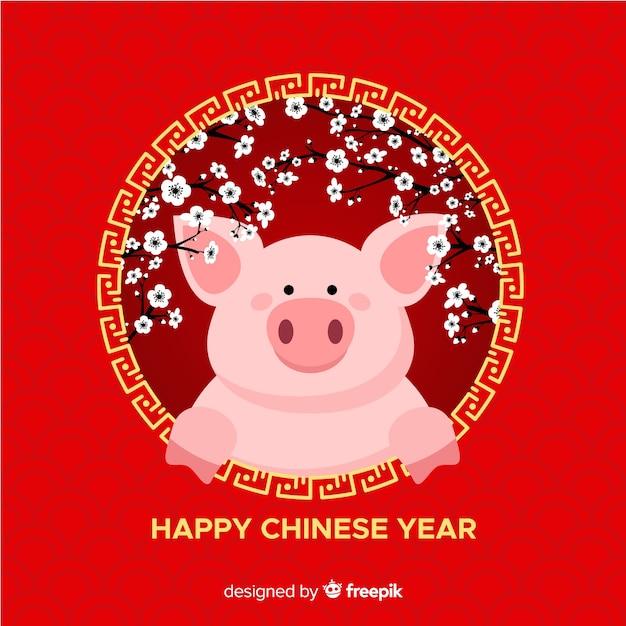 Chinees nieuwjaar 2019 Gratis Vector