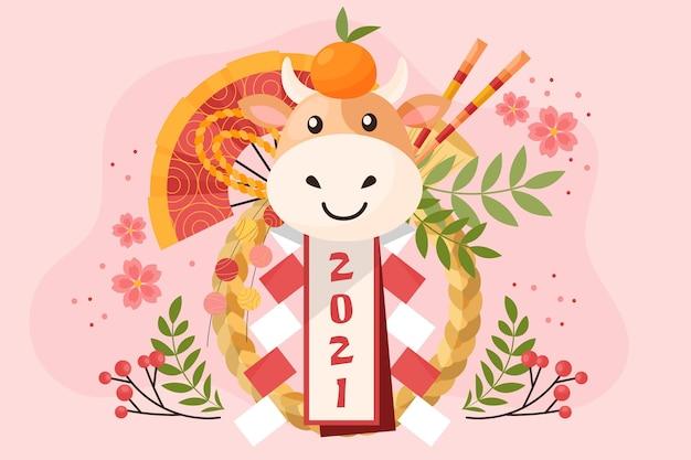 Chinees nieuwjaar 2021 achtergrond Premium Vector