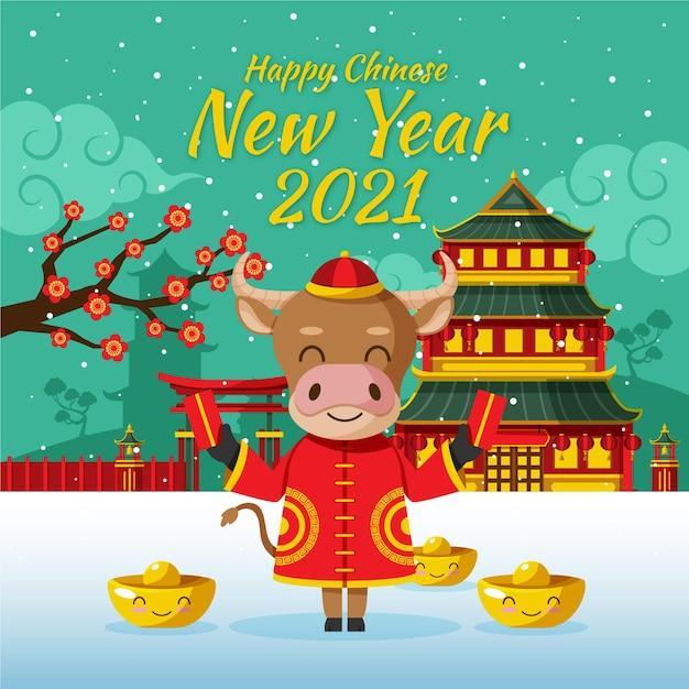 Chinees nieuwjaar 2021 Premium Vector