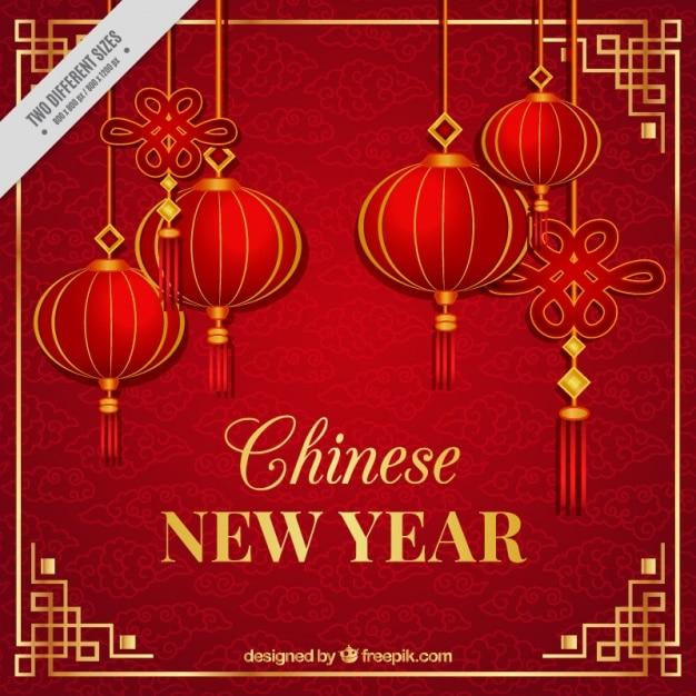 Chinees nieuwjaar achtergrond met lantaarns Gratis Vector