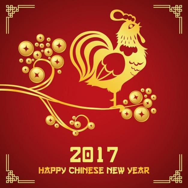 Chinees Nieuwjaar achtergrond ontwerp Gratis Vector