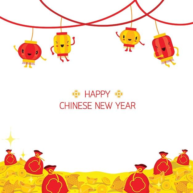 Chinees nieuwjaar cute cartoon versieren op frame, traditionele viering, china, gelukkig chinees nieuwjaar Premium Vector