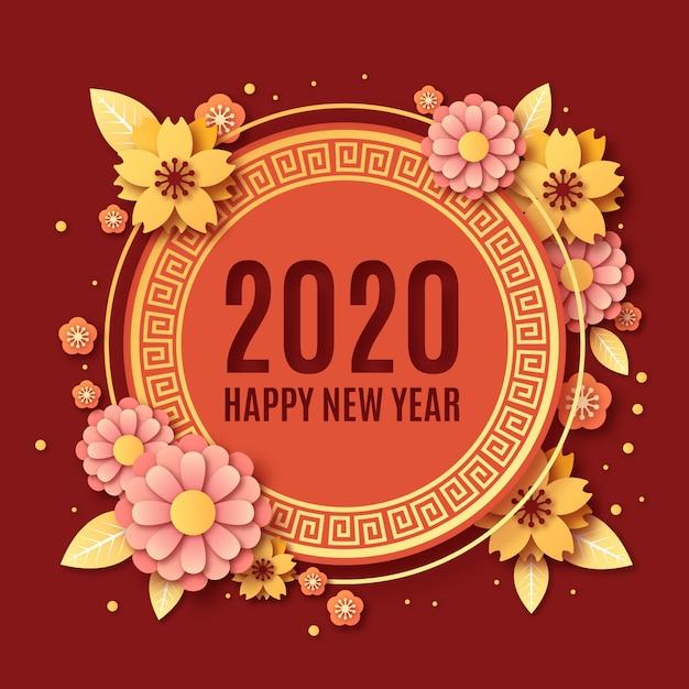 Chinees nieuwjaar in papieren stijl Gratis Vector