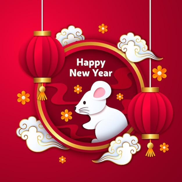 Chinees nieuwjaar in papierstijl met verloop Gratis Vector