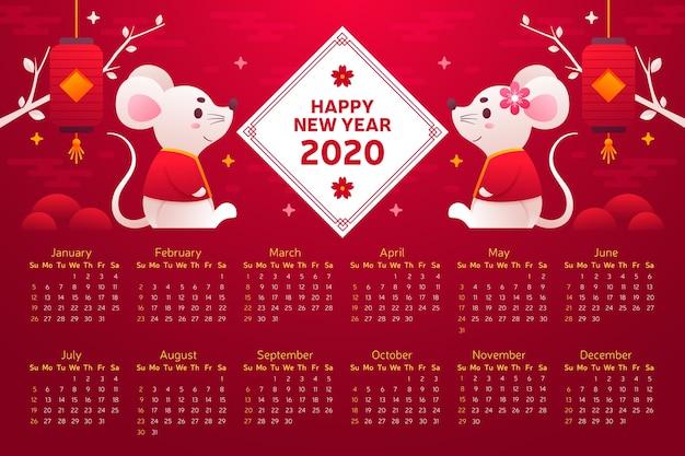 Chinees nieuwjaar kalender plat ontwerp Gratis Vector