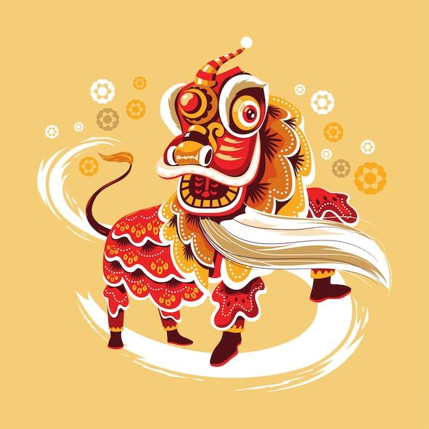 Chinees nieuwjaar lion dance met jump and scroll vector Premium Vector
