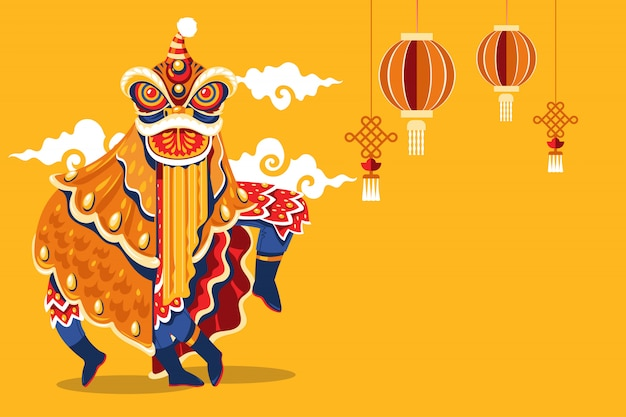 Chinees nieuwjaar lion dance met jump and scroll vector Premium Vector