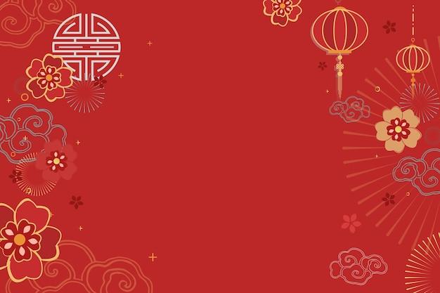 Chinees nieuwjaar viering feestelijke rode begroeting achtergrond Gratis Vector
