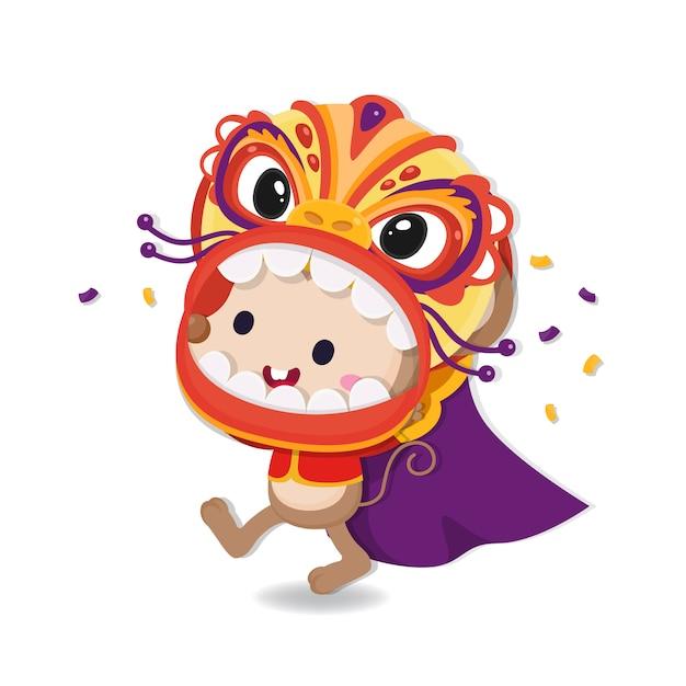 Chinees nieuwjaar wenskaart. gelukkig rattenjaar. Premium Vector