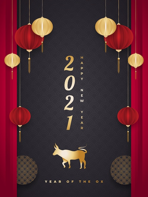 Chinees nieuwjaar wenskaart of poster met gouden os en lantaarns in papier gesneden stijl op zwarte achtergrond Premium Vector