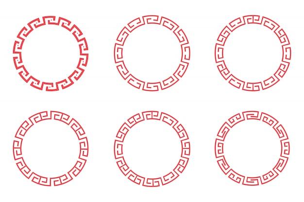 Chinees rood cirkel vastgesteld vectorontwerp op witte achtergrond. Premium Vector