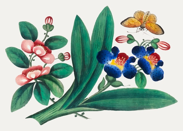 Chinees schilderij met bloemen en vlinder. Gratis Vector