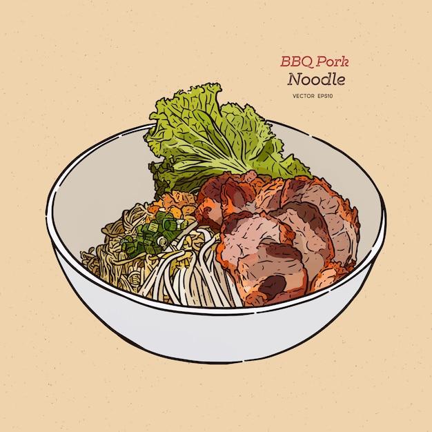 Chinees stijlbbq varkensvlees met einoedel. Premium Vector
