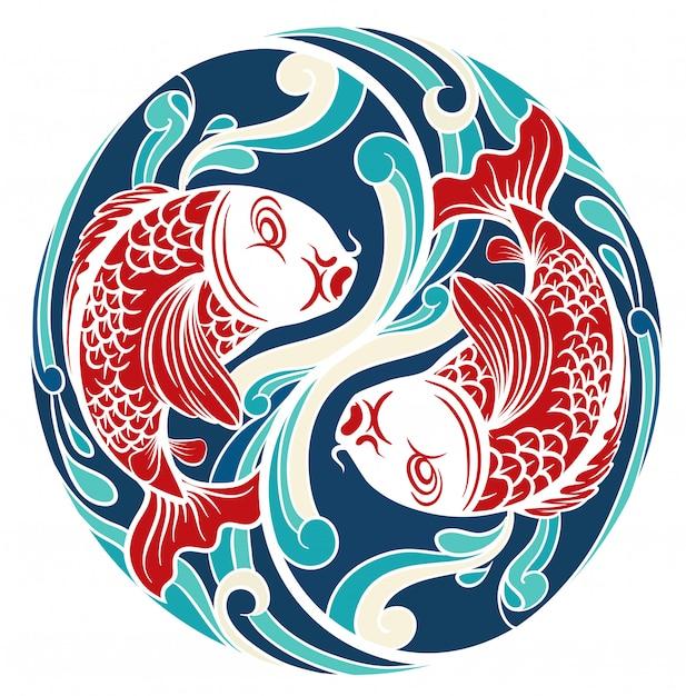 Chinees thema met vis Gratis Vector