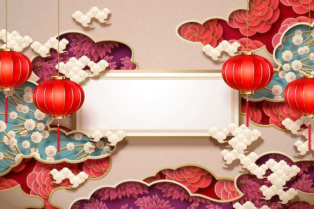 Chinees traditioneel behang met blanco rol en hangende lantaarns op florale decoraties Premium Vector