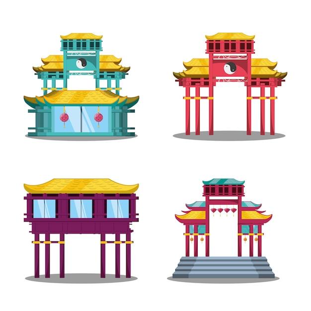 chinese cultuur architectuur pictogrammen | vector | premium download