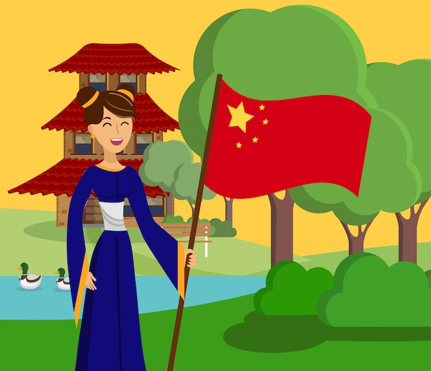 Chinese dame in park vector kleur illustratie Premium Vector