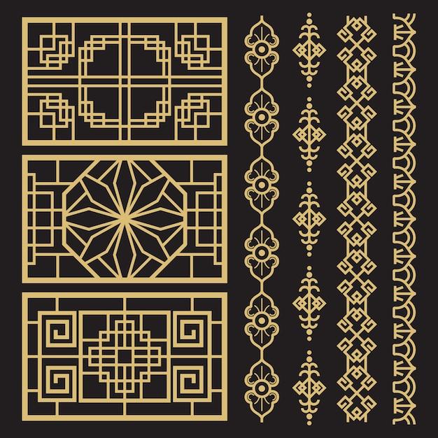 Chinese decoratie, traditionele antieke koreaanse grenzen en frames Premium Vector