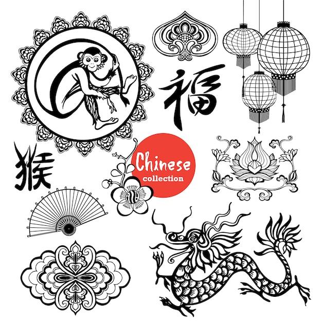 Chinese elementen Gratis Vector