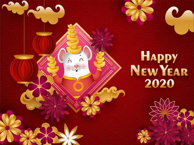 Chinese gelukkig nieuwjaar 2020 viering wenskaart met cartoon rat houden baar, papier gesneden lantaarns en bloemen versierd op rode naadloze cirkel golf. Premium Vector
