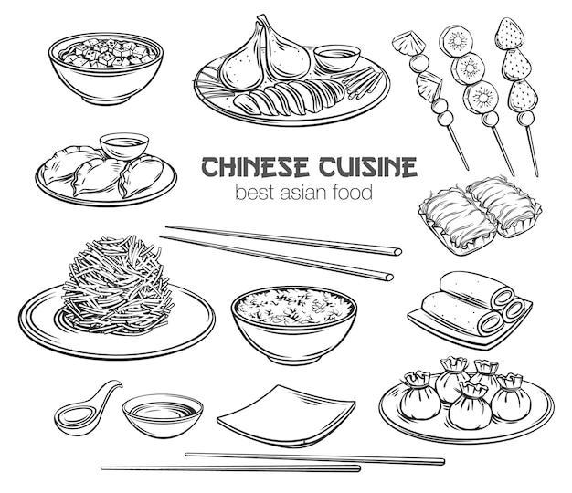 Chinese keuken overzicht pictogrammenset aziatisch eten Premium Vector