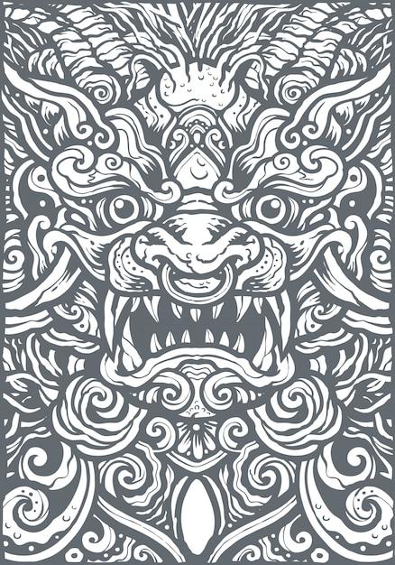 Chinese lion mandala background illustration Premium Vector