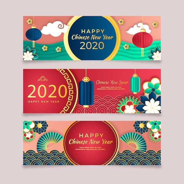 Chinese nieuwe jaarbanners in document stijl Gratis Vector