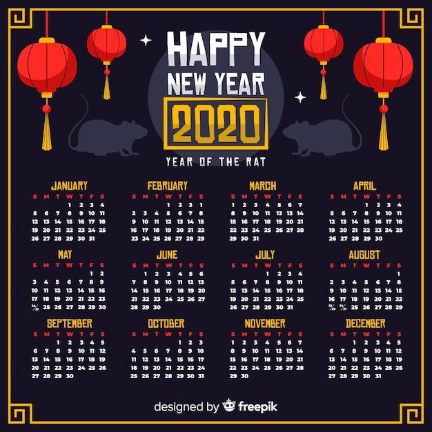 Chinese nieuwe jaarkalender in plat ontwerp Gratis Vector