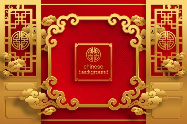 Chinese oosterse bruiloft achtergrond Premium Vector