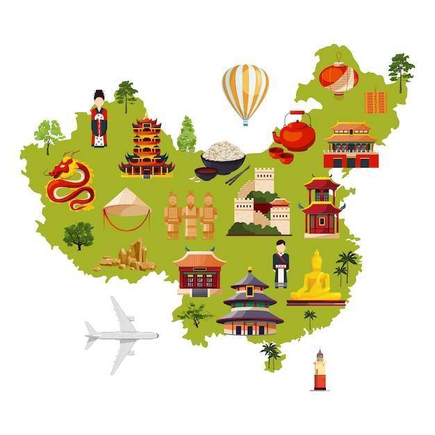 Chinese reisillustratie met verschillende culturele voorwerpen. vectorkaart in beeldverhaalstijl Premium Vector
