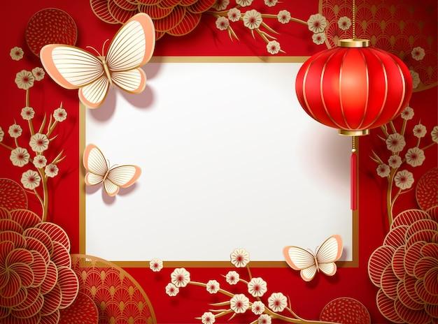 Chinese traditionele achtergrond met lantaarn Premium Vector