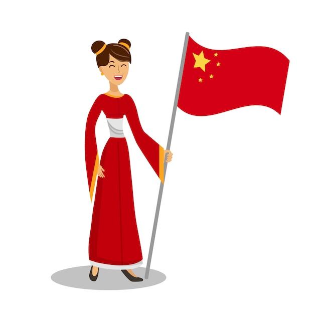 Chinese vrouw met vlag vlakke kleur illustratie Premium Vector