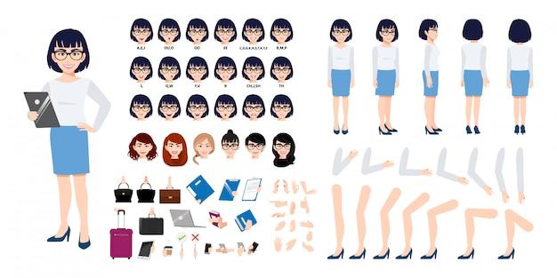 Chinese zakenvrouw stripfiguur creatie set met verschillende weergaven. Premium Vector