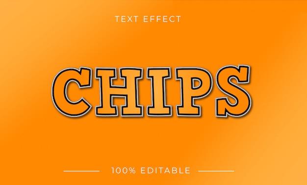 Chips-teksteffect met kleurverloop Premium Vector