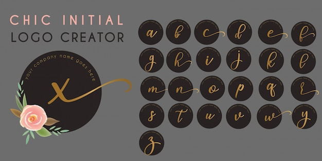 Chique floral beginletter logo sjabloon Premium Vector