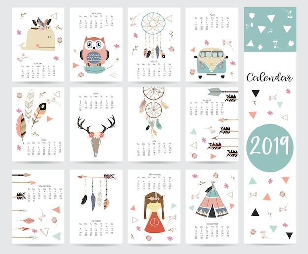 Chique maandkalender Premium Vector