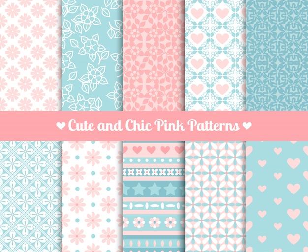 Chique roze en blauwe patronen Premium Vector
