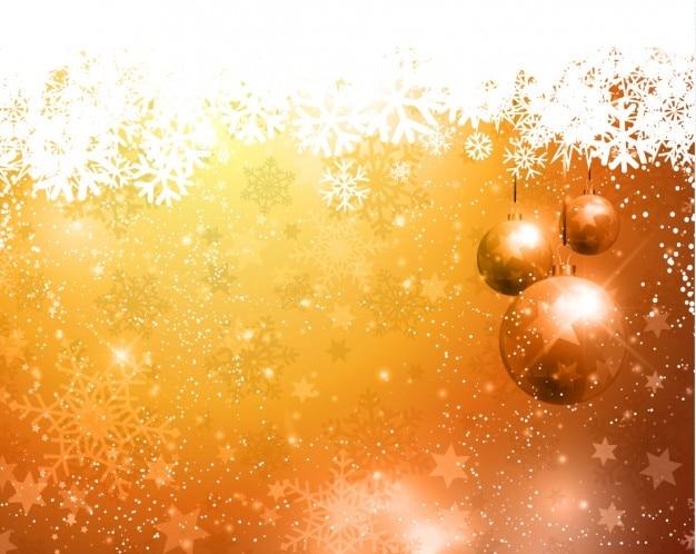 Chirstmas gouden achtergrond met kerstballen Gratis Vector